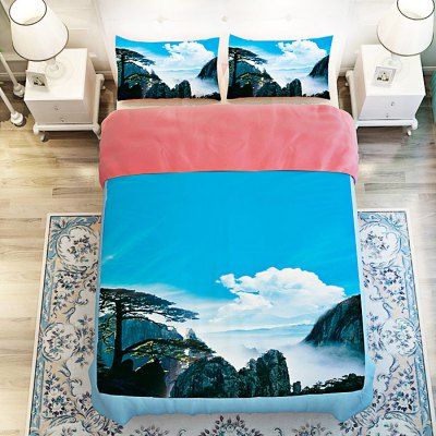 4-piece Polyester Bedding Set Mount Huangshan PatternBedding Sets<br>4-piece Polyester Bedding Set Mount Huangshan Pattern<br><br>Package Contents: 1 x Pillowcase, 1 x Duvet Cover, 1 x Flat Sheet, 1 x Fitted Sheet<br>Package size (L x W x H): 40.00 x 30.00 x 4.00 cm / 15.75 x 11.81 x 1.57 inches<br>Package weight: 1.5500 kg<br>Product weight: 1.5000 kg<br>Style: Scenery / Landscape<br>Type: Single