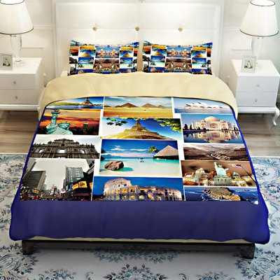 5-piece Polyester Bedding Set World Attractions PatternBedding Sets<br>5-piece Polyester Bedding Set World Attractions Pattern<br><br>Package Contents: 2 x Pillowcase, 1 x Duvet Cover, 1 x Flat Sheet, 1 x Fitted Sheet<br>Package size (L x W x H): 40.00 x 30.00 x 4.00 cm / 15.75 x 11.81 x 1.57 inches<br>Package weight: 2.2500 kg<br>Product weight: 2.2000 kg<br>Style: Scenery / Landscape<br>Type: Double