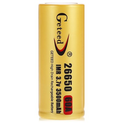 Geteed 26650 Li-ion Rechargeable BatteryBatteries<br>Geteed 26650 Li-ion Rechargeable Battery<br><br>Battery: 26650<br>Battery Type: Lithium-ion<br>Brand: Geteed<br>Capacity (mAh): 3500mAh<br>Charge Current: 3500mA<br>Charging Time.: 8 Hours<br>Discharge Current: 60000mA<br>Head Type: Button Top<br>Max. Discharge Current: 80000mA<br>Package Contents: 8 x Geteed 26650 Li-ion Battery<br>Package size (L x W x H): 14.60 x 6.00 x 7.50 cm / 5.75 x 2.36 x 2.95 inches<br>Package weight: 0.6600 kg<br>Product size (L x W x H): 2.60 x 2.60 x 6.50 cm / 1.02 x 1.02 x 2.56 inches<br>Product weight: 0.0850 kg<br>Protected: No<br>Rechargeable: Yes<br>Type: Battery<br>Voltage(V): 3.7V