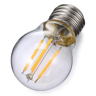 E27 G45 LED Filament BulbGlobe bulbs<br>E27 G45 LED Filament Bulb<br><br>Available Light Color: Warm White<br>CCT/Wavelength: 3000K<br>Features: Energy Saving<br>Function: Home Lighting, Commercial Lighting<br>Holder: E27<br>Output Power: 4W<br>Package Contents: 1 x E27 LED  Filament Bulb<br>Package size (L x W x H): 5.30 x 5.30 x 9.50 cm / 2.09 x 2.09 x 3.74 inches<br>Package weight: 0.0600 kg<br>Product size (L x W x H): 4.30 x 4.30 x 8.50 cm / 1.69 x 1.69 x 3.35 inches<br>Product weight: 0.0180 kg<br>Sheathing Material: Aluminum, Glass<br>Total Emitters: 4<br>Type: Filament Bulb<br>Voltage (V): 220V