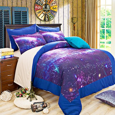 4-piece Polyester Bedding Set Star-studded Sky PatternBedding Sets<br>4-piece Polyester Bedding Set Star-studded Sky Pattern<br><br>Package Contents: 1 x Pillowcase, 1 x Duvet Cover, 1 x Flat Sheet, 1 x Fitted Sheet<br>Package size (L x W x H): 40.00 x 30.00 x 4.00 cm / 15.75 x 11.81 x 1.57 inches<br>Package weight: 1.5500 kg<br>Pattern Type: Novelty<br>Product weight: 1.5000 kg<br>Type: Single