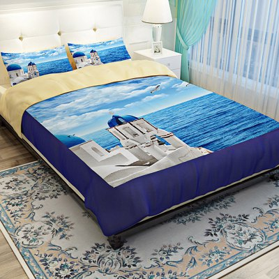 4-piece Polyester Bedding Set Aegean Sea PatternBedding Sets<br>4-piece Polyester Bedding Set Aegean Sea Pattern<br><br>Package Contents: 1 x Pillowcase, 1 x Duvet Cover, 1 x Flat Sheet, 1 x Fitted Sheet<br>Package size (L x W x H): 40.00 x 30.00 x 4.00 cm / 15.75 x 11.81 x 1.57 inches<br>Package weight: 1.5500 kg<br>Pattern Type: Ocean<br>Product weight: 1.5000 kg<br>Style: Scenery / Landscape<br>Type: Single