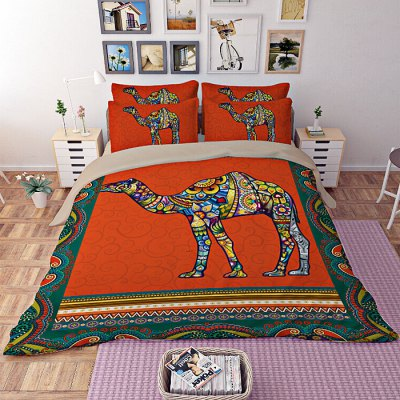 5-piece Polyester Bedding Set Bohemian Camel PatternBedding Sets<br>5-piece Polyester Bedding Set Bohemian Camel Pattern<br><br>Package Contents: 2 x Pillowcase, 1 x Duvet Cover, 1 x Flat Sheet, 1 x Fitted Sheet<br>Package size (L x W x H): 40.00 x 30.00 x 4.00 cm / 15.75 x 11.81 x 1.57 inches<br>Package weight: 2.2500 kg<br>Pattern Type: Animal<br>Product weight: 2.2000 kg<br>Style: Scenery / Landscape<br>Type: Double