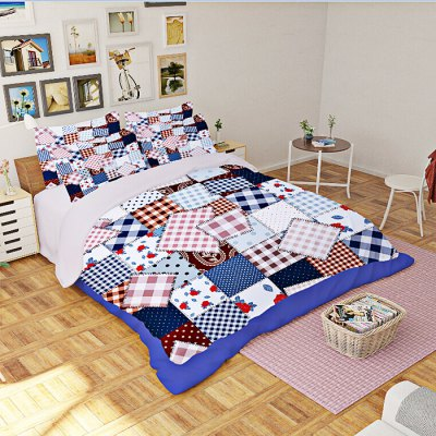 5-piece Polyester Bedding Set Bohemian Patchwork Grid PatternBedding Sets<br>5-piece Polyester Bedding Set Bohemian Patchwork Grid Pattern<br><br>Package Contents: 2 x Pillowcase, 1 x Duvet Cover, 1 x Flat Sheet, 1 x Fitted Sheet<br>Package size (L x W x H): 40.00 x 30.00 x 4.00 cm / 15.75 x 11.81 x 1.57 inches<br>Package weight: 2.0500 kg<br>Product weight: 2.0000 kg<br>Style: Strip / Grid<br>Type: Double