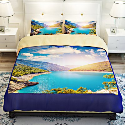 5-piece Polyester Bedding Set Green Mountains PatternBedding Sets<br>5-piece Polyester Bedding Set Green Mountains Pattern<br><br>Package Contents: 2 x Pillowcase, 1 x Duvet Cover, 1 x Flat Sheet, 1 x Fitted Sheet<br>Package size (L x W x H): 40.00 x 30.00 x 4.00 cm / 15.75 x 11.81 x 1.57 inches<br>Package weight: 2.0500 kg<br>Product weight: 2.0000 kg<br>Style: Scenery / Landscape<br>Type: Double