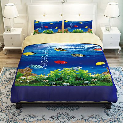 5-piece Polyester Bedding Set Underwater World PatternBedding Sets<br>5-piece Polyester Bedding Set Underwater World Pattern<br><br>Package Contents: 2 x Pillowcase, 1 x Duvet Cover, 1 x Flat Sheet, 1 x Fitted Sheet<br>Package size (L x W x H): 40.00 x 30.00 x 4.00 cm / 15.75 x 11.81 x 1.57 inches<br>Package weight: 2.0500 kg<br>Pattern Type: Animal<br>Product weight: 2.0000 kg<br>Style: Scenery / Landscape<br>Type: Double