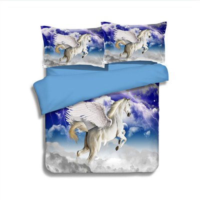 4-piece Polyester Bedding Set Flying Angel Horse PatternBedding Sets<br>4-piece Polyester Bedding Set Flying Angel Horse Pattern<br><br>Package Contents: 1 x Pillowcase, 1 x Duvet Cover, 1 x Flat Sheet, 1 x Fitted Sheet<br>Package size (L x W x H): 40.00 x 30.00 x 4.00 cm / 15.75 x 11.81 x 1.57 inches<br>Package weight: 1.5500 kg<br>Pattern Type: Animal<br>Product weight: 1.5000 kg<br>Type: Single