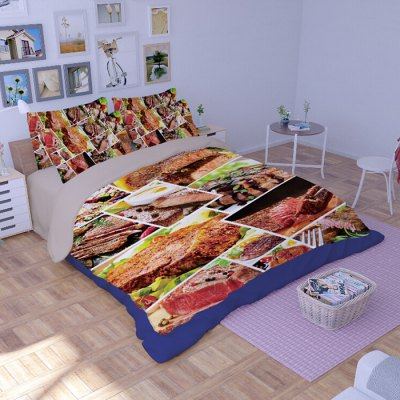 5-piece Polyester Bedding Set Steak PatternBedding Sets<br>5-piece Polyester Bedding Set Steak Pattern<br><br>Package Contents: 2 x Pillowcase, 1 x Duvet Cover, 1 x Flat Sheet, 1 x Fitted Sheet<br>Package size (L x W x H): 40.00 x 30.00 x 4.00 cm / 15.75 x 11.81 x 1.57 inches<br>Package weight: 2.2500 kg<br>Pattern Type: Novelty<br>Product weight: 2.2000 kg<br>Type: Double