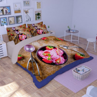 5-piece Polyester Bedding Set Strawberry Ice Cream PatternBedding Sets<br>5-piece Polyester Bedding Set Strawberry Ice Cream Pattern<br><br>Package Contents: 2 x Pillowcase, 1 x Duvet Cover, 1 x Flat Sheet, 1 x Fitted Sheet<br>Package size (L x W x H): 40.00 x 30.00 x 4.00 cm / 15.75 x 11.81 x 1.57 inches<br>Package weight: 2.2500 kg<br>Pattern Type: Novelty<br>Product weight: 2.2000 kg<br>Type: Double