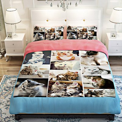 4-piece Polyester Bedding Set Funny Cats PatternBedding Sets<br>4-piece Polyester Bedding Set Funny Cats Pattern<br><br>Package Contents: 1 x Pillowcase, 1 x Duvet Cover, 1 x Flat Sheet, 1 x Fitted Sheet<br>Package size (L x W x H): 40.00 x 30.00 x 4.00 cm / 15.75 x 11.81 x 1.57 inches<br>Package weight: 1.5500 kg<br>Pattern Type: Animal<br>Product weight: 1.5000 kg<br>Type: Single