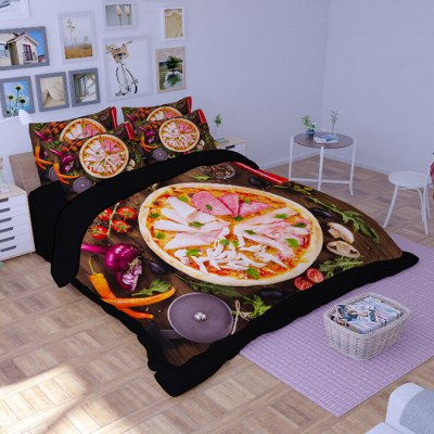 5-piece Polyester Bedding Set Nice Pizza PatternBedding Sets<br>5-piece Polyester Bedding Set Nice Pizza Pattern<br><br>Package Contents: 2 x Pillowcase, 1 x Duvet Cover, 1 x Flat Sheet, 1 x Fitted Sheet<br>Package size (L x W x H): 40.00 x 30.00 x 4.00 cm / 15.75 x 11.81 x 1.57 inches<br>Package weight: 2.0500 kg<br>Pattern Type: Novelty<br>Product weight: 2.0000 kg<br>Type: Double