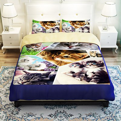 5-piece Polyester Bedding Set Adorable Kittens PatternBedding Sets<br>5-piece Polyester Bedding Set Adorable Kittens Pattern<br><br>Package Contents: 2 x Pillowcase, 1 x Duvet Cover, 1 x Flat Sheet, 1 x Fitted Sheet<br>Package size (L x W x H): 40.00 x 30.00 x 4.00 cm / 15.75 x 11.81 x 1.57 inches<br>Package weight: 2.0500 kg<br>Pattern Type: Animal<br>Product weight: 2.0000 kg<br>Type: Double
