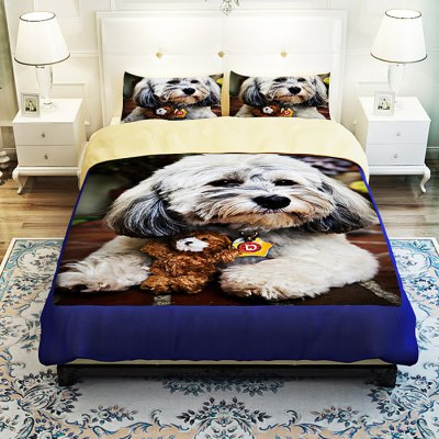 4-piece Polyester Bedding Set Cute Puppy PatternBedding Sets<br>4-piece Polyester Bedding Set Cute Puppy Pattern<br><br>Package Contents: 1 x Pillowcase, 1 x Duvet Cover, 1 x Flat Sheet, 1 x Fitted Sheet<br>Package size (L x W x H): 40.00 x 30.00 x 4.00 cm / 15.75 x 11.81 x 1.57 inches<br>Package weight: 1.5500 kg<br>Pattern Type: Animal<br>Product weight: 1.5000 kg<br>Type: Single