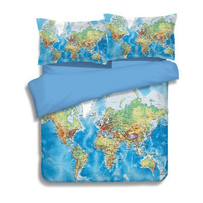 5-piece Polyester Bedding Set World Map PatternBedding Sets<br>5-piece Polyester Bedding Set World Map Pattern<br><br>Package Contents: 2 x Pillowcase, 1 x Duvet Cover, 1 x Flat Sheet, 1 x Fitted Sheet<br>Package size (L x W x H): 40.00 x 30.00 x 4.00 cm / 15.75 x 11.81 x 1.57 inches<br>Package weight: 2.0500 kg<br>Pattern Type: Novelty<br>Product weight: 2.0000 kg<br>Type: Double