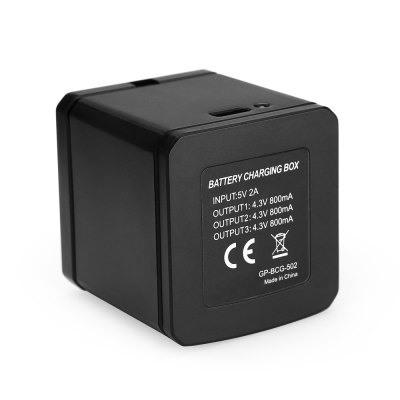 TELESIN Battery Charging Box for Action CameraAction Cameras &amp; Sport DV Accessories<br>TELESIN Battery Charging Box for Action Camera<br><br>Accessory type: Battery Charger<br>Apply to Brand: Gopro<br>Brand: TELESIN<br>Compatible with: GoPro Hero 5<br>Package Contents: 1 x Battery Charging Box<br>Package size (L x W x H): 12.50 x 11.50 x 6.50 cm / 4.92 x 4.53 x 2.56 inches<br>Package weight: 0.1100 kg<br>Product size (L x W x H): 4.80 x 4.60 x 4.90 cm / 1.89 x 1.81 x 1.93 inches<br>Product weight: 0.0480 kg