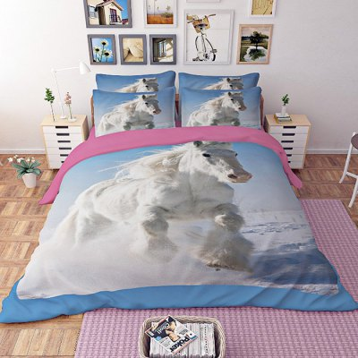 4-piece Polyester Bedding Set White Horse PatternBedding Sets<br>4-piece Polyester Bedding Set White Horse Pattern<br><br>Package Contents: 1 x Pillowcase, 1 x Duvet Cover, 1 x Flat Sheet, 1 x Fitted Sheet<br>Package size (L x W x H): 40.00 x 30.00 x 4.00 cm / 15.75 x 11.81 x 1.57 inches<br>Package weight: 1.5500 kg<br>Pattern Type: Animal<br>Product weight: 1.5000 kg<br>Type: Single