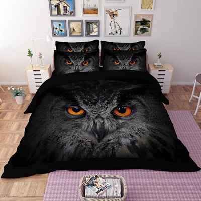 4-piece Polyester Bedding Set Owl PatternBedding Sets<br>4-piece Polyester Bedding Set Owl Pattern<br><br>Package Contents: 1 x Pillowcase, 1 x Duvet Cover, 1 x Flat Sheet, 1 x Fitted Sheet<br>Package size (L x W x H): 40.00 x 30.00 x 4.00 cm / 15.75 x 11.81 x 1.57 inches<br>Package weight: 1.5500 kg<br>Pattern Type: Animal<br>Product weight: 1.5000 kg<br>Type: Single