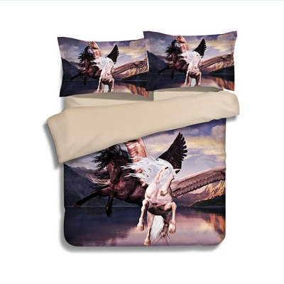 4-piece Polyester Bedding Set Angel Horse PatternBedding Sets<br>4-piece Polyester Bedding Set Angel Horse Pattern<br><br>Package Contents: 1 x Pillowcase, 1 x Duvet Cover, 1 x Flat Sheet, 1 x Fitted Sheet<br>Package size (L x W x H): 40.00 x 30.00 x 4.00 cm / 15.75 x 11.81 x 1.57 inches<br>Package weight: 1.5500 kg<br>Pattern Type: Animal<br>Product weight: 1.5000 kg<br>Type: Single