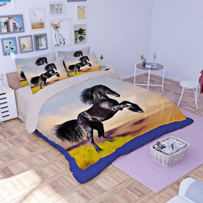 4-piece Polyester Bedding Set Black Horse PatternBedding Sets<br>4-piece Polyester Bedding Set Black Horse Pattern<br><br>Package Contents: 1 x Pillowcase, 1 x Duvet Cover, 1 x Flat Sheet, 1 x Fitted Sheet<br>Package size (L x W x H): 40.00 x 30.00 x 4.00 cm / 15.75 x 11.81 x 1.57 inches<br>Package weight: 1.5500 kg<br>Pattern Type: Animal<br>Product weight: 1.5000 kg<br>Style: Scenery / Landscape<br>Type: Single