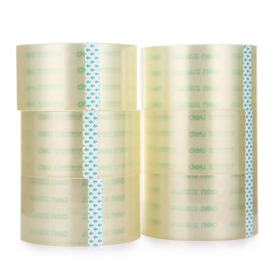 Deli 30325 6PCS Transparent TapeOther Supplies<br>Deli 30325 6PCS Transparent Tape<br><br>Brand: Deli<br>Color: Transparent<br>Material: PC<br>Model: 30325<br>Package Contents: 6 x Deli 30325 Adhesive Tape<br>Package size (L x W x H): 37.00 x 12.50 x 12.50 cm / 14.57 x 4.92 x 4.92 inches<br>Package weight: 1.8760 kg<br>Product weight: 1.8560 kg