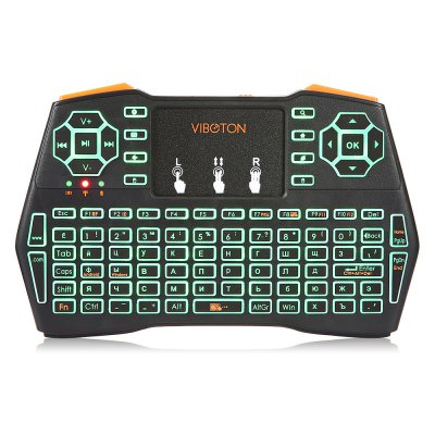 VIBOTON i8 Plus Wireless Keyboard Backlight VersionAir Mouse<br>VIBOTON i8 Plus Wireless Keyboard Backlight Version<br><br>Battery Capacity (mAh): 1020mAh<br>Brand: Viboton<br>Charging Time: About 2 Hours<br>Connection Type: 2.4GHz Wireless<br>Interface: USB 2.0<br>Model: i8 Plus<br>Package size: 19.40 x 11.00 x 2.80 cm / 7.64 x 4.33 x 1.1 inches<br>Package weight: 0.1390 kg<br>Packing List: 1 x Handheld Wireless Keyboard, 1 x USB Cable, 1 x USB Receiver<br>Powered by: Lithium Battery<br>Product Features: Remote Controller, Air Mouse, Ergonomic, Gaming<br>Product size: 14.60 x 8.10 x 1.30 cm / 5.75 x 3.19 x 0.51 inches<br>Product weight: 0.1050 kg<br>Suitable for: Andriod TV Box, XBOX360, PC, Pad, Android TV, Google TV Box