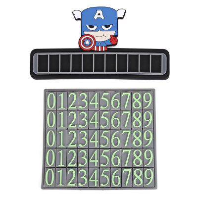 Cute Cartoon Car Dashboard Luminous Parking Phone CardCar Stickers<br>Cute Cartoon Car Dashboard Luminous Parking Phone Card<br><br>Material: PVC<br>Package Contents: 1 x Temporary Stop Card, 1 x Number Sheet, 1 x Sticker<br>Package size (L x W x H): 24.00 x 16.00 x 3.00 cm / 9.45 x 6.3 x 1.18 inches<br>Package weight: 0.1220 kg<br>Product size (L x W x H): 17.70 x 9.40 x 0.40 cm / 6.97 x 3.7 x 0.16 inches<br>Product weight: 0.0920 kg<br>Type: Other Decorations