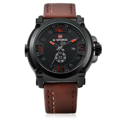 NAVIFORCE 9099 Fashion Men WristwatchMens Watches<br>NAVIFORCE 9099 Fashion Men Wristwatch<br><br>Available Color: Black,Khaki,Orange,Red<br>Band material: PU<br>Band size: 24.5 x 2.3cm<br>Brand: Naviforce<br>Case material: Alloy<br>Clasp type: Pin buckle<br>Dial size: 4.55 x 4.55 x 1.4cm<br>Display type: Analog<br>Movement type: Quartz watch<br>Package Contents: 1 x Wristwatch<br>Package size (L x W x H): 26.50 x 6.55 x 3.40 cm / 10.43 x 2.58 x 1.34 inches<br>Package weight: 0.1260 kg<br>Product size (L x W x H): 24.50 x 4.55 x 1.40 cm / 9.65 x 1.79 x 0.55 inches<br>Product weight: 0.0930 kg<br>Shape of the dial: Round<br>Special features: Date, Day<br>Watch style: Fashion<br>Watches categories: Men<br>Water resistance : 30 meters<br>Wearable length: 18.5 - 23.5cm