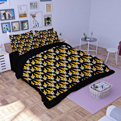 5-piece Polyester Bedding Set Cute Skulls PatternBedding Sets<br>5-piece Polyester Bedding Set Cute Skulls Pattern<br><br>Package Contents: 2 x Pillowcase, 1 x Duvet Cover, 1 x Flat Sheet, 1 x Fitted Sheet<br>Package size (L x W x H): 40.00 x 30.00 x 4.00 cm / 15.75 x 11.81 x 1.57 inches<br>Package weight: 2.0500 kg<br>Pattern Type: Novelty<br>Product weight: 2.0000 kg<br>Type: Double