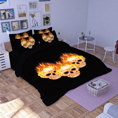 4-piece Polyester Bedding Set Fire Skulls PatternBedding Sets<br>4-piece Polyester Bedding Set Fire Skulls Pattern<br><br>Package Contents: 1 x Pillowcase, 1 x Duvet Cover, 1 x Flat Sheet, 1 x Fitted Sheet<br>Package size (L x W x H): 40.00 x 30.00 x 4.00 cm / 15.75 x 11.81 x 1.57 inches<br>Package weight: 1.5500 kg<br>Pattern Type: Novelty<br>Product weight: 1.5000 kg<br>Type: Single