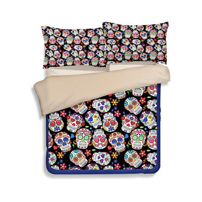 4-piece Polyester Bedding Set Colorful Skulls PatternBedding Sets<br>4-piece Polyester Bedding Set Colorful Skulls Pattern<br><br>Package Contents: 1 x Pillowcase, 1 x Duvet Cover, 1 x Flat Sheet, 1 x Fitted Sheet<br>Package size (L x W x H): 40.00 x 30.00 x 4.00 cm / 15.75 x 11.81 x 1.57 inches<br>Package weight: 1.5500 kg<br>Pattern Type: Flower, Novelty<br>Product weight: 1.5000 kg<br>Style: Plant / Flower<br>Type: Single