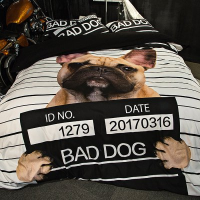 5-piece Polyester Bedding Set Bad Dog PatternBedding Sets<br>5-piece Polyester Bedding Set Bad Dog Pattern<br><br>Package Contents: 2 x Pillowcase, 1 x Duvet Cover, 1 x Flat Sheet, 1 x Fitted Sheet<br>Package size (L x W x H): 40.00 x 30.00 x 4.00 cm / 15.75 x 11.81 x 1.57 inches<br>Package weight: 2.2500 kg<br>Pattern Type: Animal, Stripe<br>Product weight: 2.2000 kg<br>Style: Strip / Grid<br>Type: Double