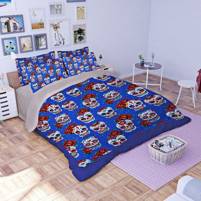 4-piece Polyester Bedding Set Rose Skulls PatternBedding Sets<br>4-piece Polyester Bedding Set Rose Skulls Pattern<br><br>Package Contents: 1 x Pillowcase, 1 x Duvet Cover, 1 x Flat Sheet, 1 x Fitted Sheet<br>Package size (L x W x H): 40.00 x 30.00 x 4.00 cm / 15.75 x 11.81 x 1.57 inches<br>Package weight: 1.5500 kg<br>Pattern Type: Flower, Novelty<br>Product weight: 1.5000 kg<br>Style: Plant / Flower<br>Type: Single