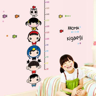 Cartoon Character Height Removable Wall Sticker for Kids Room