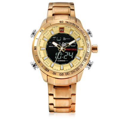 NAVIFORCE 9093 Business Men WatchMens Watches<br>NAVIFORCE 9093 Business Men Watch<br><br>Available Color: Gold<br>Band material: Stainless Steel<br>Band size: 24.5 x 2.2cm<br>Brand: Naviforce<br>Case material: Alloy<br>Clasp type: Folding clasp with safety<br>Dial size: 4.8 x 4.8 x 1.6cm<br>Display type: Analog-Digital<br>Movement type: Double-movtz<br>Package Contents: 1 x Watch<br>Package size (L x W x H): 26.50 x 6.80 x 3.60 cm / 10.43 x 2.68 x 1.42 inches<br>Package weight: 0.2200 kg<br>Product size (L x W x H): 24.50 x 4.80 x 1.60 cm / 9.65 x 1.89 x 0.63 inches<br>Product weight: 0.1810 kg<br>Shape of the dial: Round<br>Special features: Date, Stopwatch, Light, Day, Alarm Clock<br>Watch style: Fashion, Business<br>Watches categories: Men<br>Water resistance : 30 meters