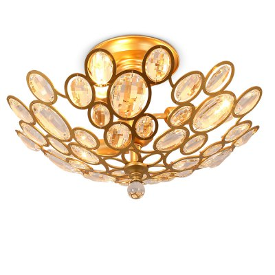 LightMyself YQ6625 - 3 Noble Crystal Golden E14 Ceiling LightFlush Ceiling Lights<br>LightMyself YQ6625 - 3 Noble Crystal Golden E14 Ceiling Light<br><br>Brand: LightMyself<br>Illumination Field: 10 - 20sqm<br>Package Contents: 1 x Ceiling Light, 1 x Acessories Kit<br>Package size (L x W x H): 52.00 x 52.00 x 30.00 cm / 20.47 x 20.47 x 11.81 inches<br>Package weight: 3.8200 kg<br>Product size (L x W x H): 43.00 x 43.00 x 28.00 cm / 16.93 x 16.93 x 11.02 inches<br>Product weight: 3.0000 kg<br>Sheathing Material: Crystal, Iron<br>Type: Ceiling Lights<br>Voltage (V): AC 220-240