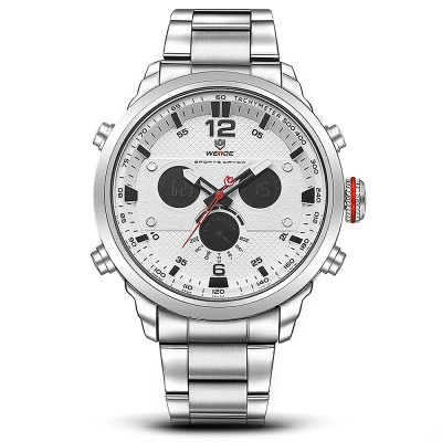 WEIDE WH6303 Business Men WristwatchMens Watches<br>WEIDE WH6303 Business Men Wristwatch<br><br>Available Color: Blue,Red,White,Yellow<br>Band material: Stainless Steel<br>Band size: 21 x 2.4cm<br>Brand: Weide<br>Case material: Zinc Alloy<br>Clasp type: Folding clasp with safety<br>Dial size: 5 x 5 x 1.58cm<br>Display type: Analog-Digital<br>Movement type: Double-movtz<br>Package Contents: 1 x Wristwatch<br>Package size (L x W x H): 21.00 x 5.00 x 1.58 cm / 8.27 x 1.97 x 0.62 inches<br>Package weight: 0.1900 kg<br>Product size (L x W x H): 21.00 x 5.00 x 1.58 cm / 8.27 x 1.97 x 0.62 inches<br>Product weight: 0.1500 kg<br>Shape of the dial: Round<br>Watch style: Business<br>Watches categories: Men<br>Water resistance : 30 meters