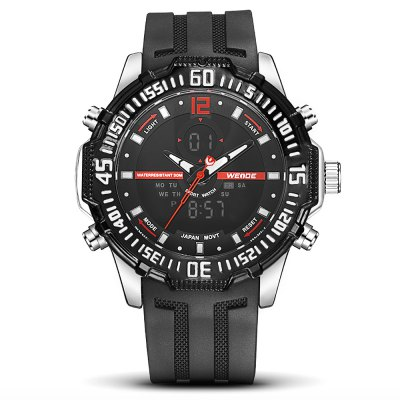 WEIDE 6105 Sports Men WatchMens Watches<br>WEIDE 6105 Sports Men Watch<br><br>Available Color: Orange,Red,White,Yellow<br>Band material: Silicone<br>Band size: 21 x 2.4cm<br>Brand: Weide<br>Case material: Zinc Alloy<br>Clasp type: Pin buckle<br>Dial size: 5.15 x 5.15 x 1.7cm<br>Display type: Analog-Digital<br>Movement type: Double-movtz<br>Package Contents: 1 x Watch<br>Package size (L x W x H): 21.00 x 5.15 x 1.70 cm / 8.27 x 2.03 x 0.67 inches<br>Package weight: 0.1900 kg<br>Product size (L x W x H): 21.00 x 5.15 x 1.70 cm / 8.27 x 2.03 x 0.67 inches<br>Product weight: 0.1500 kg<br>Shape of the dial: Round<br>Watch style: Trends in outdoor sports<br>Watches categories: Men<br>Water resistance : 30 meters