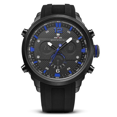 WEIDE WH6303 Outdoor Sports Men WatchMens Watches<br>WEIDE WH6303 Outdoor Sports Men Watch<br><br>Available Color: Blue,Red,White,Yellow<br>Band material: Silicone<br>Band size: 21 x 2.4cm<br>Brand: Weide<br>Case material: Zinc Alloy<br>Clasp type: Pin buckle<br>Dial size: 5 x 5 x 1.58cm<br>Display type: Analog-Digital<br>Movement type: Double-movtz<br>Package Contents: 1 x Watch<br>Package size (L x W x H): 21.00 x 5.00 x 1.58 cm / 8.27 x 1.97 x 0.62 inches<br>Package weight: 0.1900 kg<br>Product size (L x W x H): 21.00 x 5.00 x 1.58 cm / 8.27 x 1.97 x 0.62 inches<br>Product weight: 0.1500 kg<br>Shape of the dial: Round<br>Watch style: Outdoor Sports<br>Watches categories: Men<br>Water resistance : 30 meters