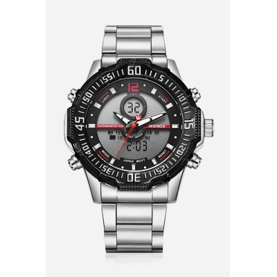 6105 Casual Men WristwatchMens Watches<br>6105 Casual Men Wristwatch<br><br>Available Color: Orange,Red,White,Yellow<br>Band material: Stainless Steel<br>Band size: 21 x 2.4cm<br>Brand: Weide<br>Case material: Zinc Alloy<br>Clasp type: Folding clasp with safety<br>Dial size: 5.15 x 5.15 x 1.7cm<br>Display type: Analog-Digital<br>Movement type: Double-movtz<br>Package Contents: 1 x Wristwatch<br>Package size (L x W x H): 21.00 x 5.15 x 1.70 cm / 8.27 x 2.03 x 0.67 inches<br>Package weight: 0.1900 kg<br>Product size (L x W x H): 21.00 x 5.15 x 1.70 cm / 8.27 x 2.03 x 0.67 inches<br>Product weight: 0.1500 kg<br>Shape of the dial: Round<br>Watch style: Trends in outdoor sports, Casual<br>Watches categories: Men<br>Water resistance : 30 meters
