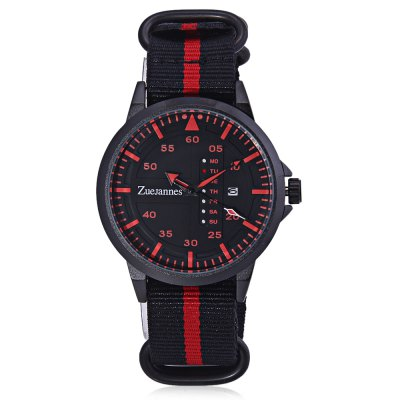 ZUEJANNES 3018G Casual Men WatchMens Watches<br>ZUEJANNES 3018G Casual Men Watch<br><br>Available Color: Black,Red<br>Band material: Nylon<br>Band size: 25.5 x 2.2cm<br>Case material: Alloy<br>Clasp type: Pin buckle<br>Dial size: 4.6 x 4.6 x 1.1cm<br>Display type: Analog<br>Movement type: Quartz watch<br>Package Contents: 1 x Watch<br>Package size (L x W x H): 27.50 x 6.60 x 3.10 cm / 10.83 x 2.6 x 1.22 inches<br>Package weight: 0.1170 kg<br>Product size (L x W x H): 25.50 x 4.60 x 1.10 cm / 10.04 x 1.81 x 0.43 inches<br>Product weight: 0.0770 kg<br>Shape of the dial: Round<br>Watch style: Outdoor Sports, Casual<br>Watches categories: Men