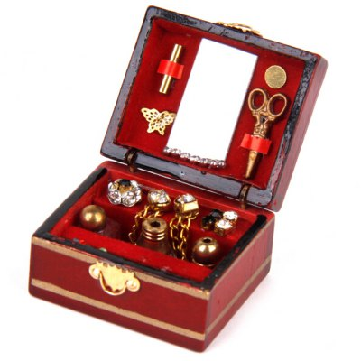 Doll House Miniature Wooden Jewelry Box Toy