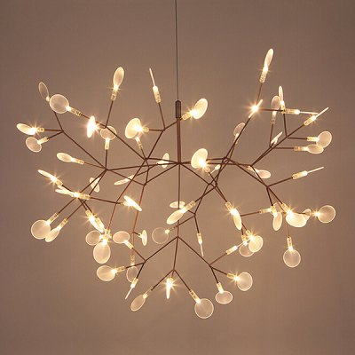 Art Creative Leaf Firefly  LED Chandelier 220VPendant Light<br>Art Creative Leaf Firefly  LED Chandelier 220V<br><br>Available Light Color: Warm White<br>Beam Angle: 360 degree<br>Bulb Base Type: Other<br>Bulb Included: No<br>Function: Home Lighting, Studio and Exhibition Lighting<br>Illumination Field: 8-10sqm<br>Luminous Flux: 500LM<br>Output Power: 9W<br>Package Contents: 1 x Chandelier,1 x Assembly Parts<br>Package size (L x W x H): 60.00 x 45.00 x 40.00 cm / 23.62 x 17.72 x 15.75 inches<br>Package weight: 5.0200 kg<br>Product size (L x W x H): 50.00 x 35.00 x 35.00 cm / 19.69 x 13.78 x 13.78 inches<br>Product weight: 4.0000 kg<br>Sheathing Material: Acrylic, Stainless Steel<br>Style: Trendy<br>Type: Chandeliers<br>Voltage (V): AC 220