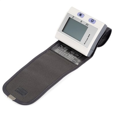 Wrist Automatic Digital Blood Pressure MonitorBraces &amp; Supports<br>Wrist Automatic Digital Blood Pressure Monitor<br><br>Package Contents: 1 x Blood Pressure Monitor, 1 x Plastic Storage Case, 1 x English Instruction Manual<br>Package size (L x W x H): 11.00 x 11.00 x 11.00 cm / 4.33 x 4.33 x 4.33 inches<br>Package weight: 0.2310 kg<br>Product size (L x W x H): 7.60 x 6.70 x 2.80 cm / 2.99 x 2.64 x 1.1 inches<br>Product weight: 0.1150 kg
