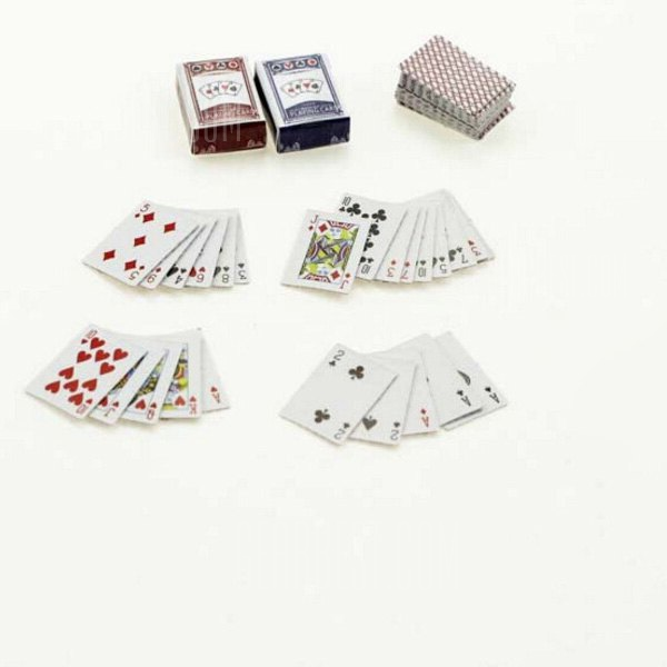 Buy 1:12 Scale Doll House Miniature Playing Card Toy Set COLORMIX