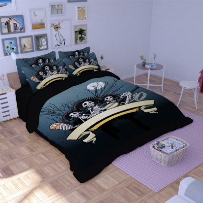 4-piece Polyester Bedding Set Ghosts Playing Music PatternBedding Sets<br>4-piece Polyester Bedding Set Ghosts Playing Music Pattern<br><br>Package Contents: 1 x Pillowcase, 1 x Duvet Cover, 1 x Flat Sheet, 1 x Fitted Sheet<br>Package size (L x W x H): 40.00 x 30.00 x 4.00 cm / 15.75 x 11.81 x 1.57 inches<br>Package weight: 1.5500 kg<br>Pattern Type: Novelty<br>Product weight: 1.5000 kg<br>Type: Single