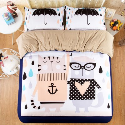 4-piece Polyester Bedding Set Cute Cats / Umbrella PatternBedding Sets<br>4-piece Polyester Bedding Set Cute Cats / Umbrella Pattern<br><br>Package Contents: 1 x Pillowcase, 1 x Duvet Cover, 1 x Flat Sheet, 1 x Fitted Sheet<br>Package size (L x W x H): 40.00 x 30.00 x 4.00 cm / 15.75 x 11.81 x 1.57 inches<br>Package weight: 1.5500 kg<br>Pattern Type: Animal<br>Product weight: 1.5000 kg<br>Style: Cartoon / Anime<br>Type: Single
