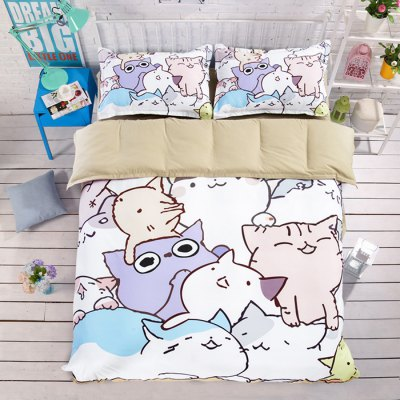 4-piece Polyester Bedding Set Adorable Cartoon Cats PatternBedding Sets<br>4-piece Polyester Bedding Set Adorable Cartoon Cats Pattern<br><br>Package Contents: 1 x Pillowcase, 1 x Duvet Cover, 1 x Flat Sheet, 1 x Fitted Sheet<br>Package size (L x W x H): 40.00 x 30.00 x 4.00 cm / 15.75 x 11.81 x 1.57 inches<br>Package weight: 1.5500 kg<br>Pattern Type: Animal<br>Product weight: 1.5000 kg<br>Style: Cartoon / Anime<br>Type: Single