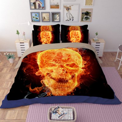 5-piece Polyester Bedding Set Furious Skull PatternBedding Sets<br>5-piece Polyester Bedding Set Furious Skull Pattern<br><br>Package Contents: 2 x Pillowcase, 1 x Duvet Cover, 1 x Flat Sheet, 1 x Fitted Sheet<br>Package size (L x W x H): 40.00 x 30.00 x 4.00 cm / 15.75 x 11.81 x 1.57 inches<br>Package weight: 2.2500 kg<br>Pattern Type: Novelty<br>Product weight: 2.2000 kg<br>Type: Double