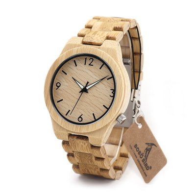 BOBO BIRD D27 Bamboo Hard Glass WatchMens Watches<br>BOBO BIRD D27 Bamboo Hard Glass Watch<br><br>Band material: Bamboo<br>Band size: 25 x 2cm<br>Brand: BOBO BIRD<br>Case material: Bamboo<br>Clasp type: Sheet folding clasp<br>Dial size: 4.4 x 4.4 x 2cm<br>Display type: Analog<br>Movement type: Quartz watch<br>Package Contents: 1 x D27 Watch, 1 x Box<br>Package size (L x W x H): 8.70 x 8.20 x 5.40 cm / 3.43 x 3.23 x 2.13 inches<br>Package weight: 0.1650 kg<br>Product size (L x W x H): 25.00 x 4.40 x 2.00 cm / 9.84 x 1.73 x 0.79 inches<br>Product weight: 0.1000 kg<br>Shape of the dial: Round<br>Watch style: Casual, Fashion<br>Watches categories: Male table<br>Wearable length: 25cm