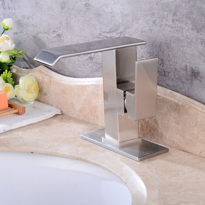 Waterfall Single Handle Brushed Bathroom Sink FaucetFaucets<br>Waterfall Single Handle Brushed Bathroom Sink Faucet<br><br>Cold and Hot Switch: Yes<br>Feature: Waterfall<br>Finish: Brushed<br>Function: Bathroom Sink Faucets<br>Installation Holes: One Hole<br>Material: Stainless Steel<br>Number of Handles: Single Handle<br>Package Contents: 1 x Bathroom Sink Faucet, 1 x Bathroom Sink Faucet<br>Package size (L x W x H): 25.50 x 24.00 x 14.00 cm / 10.04 x 9.45 x 5.51 inches<br>Package weight: 1.8200 kg<br>Product size (L x W x H): 24.50 x 23.00 x 13.00 cm / 9.65 x 9.06 x 5.12 inches<br>Product weight: 1.3000 kg<br>Style: Contemporary